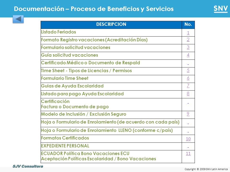 Copyright © 2009 SNV Latin America Documentación – Proceso de Beneficios y Servicios SJV Consultora DESCRIPCIONNo. Listado Feriados 1 Formato Registro