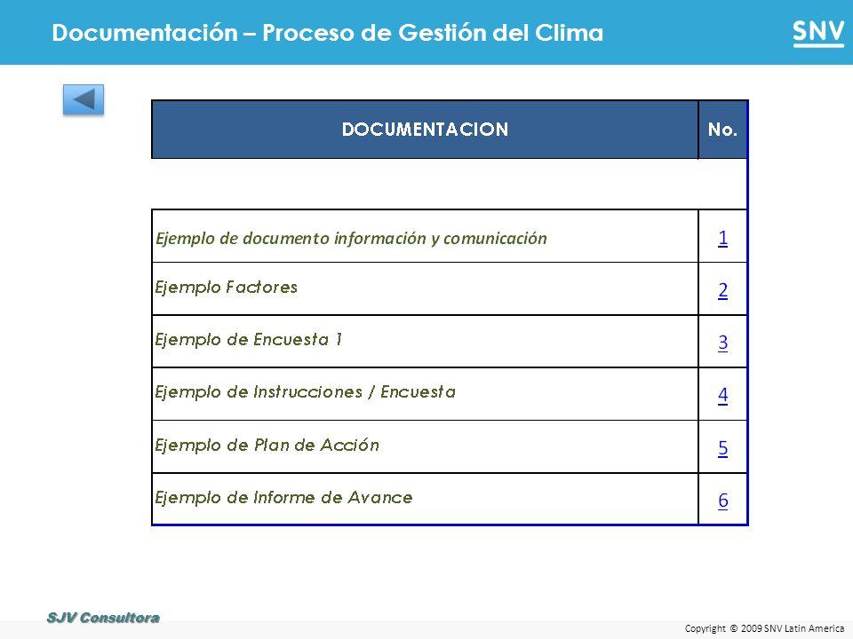 Copyright © 2009 SNV Latin America Documentación – Proceso de Gestión del Clima SJV Consultora