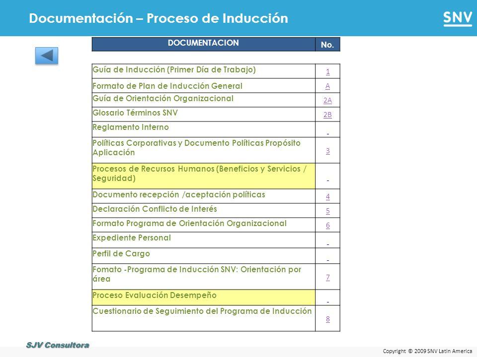 Copyright © 2009 SNV Latin America Documentación – Proceso de Administración Salarial SJV Consultora DESCRIPCIONNo.