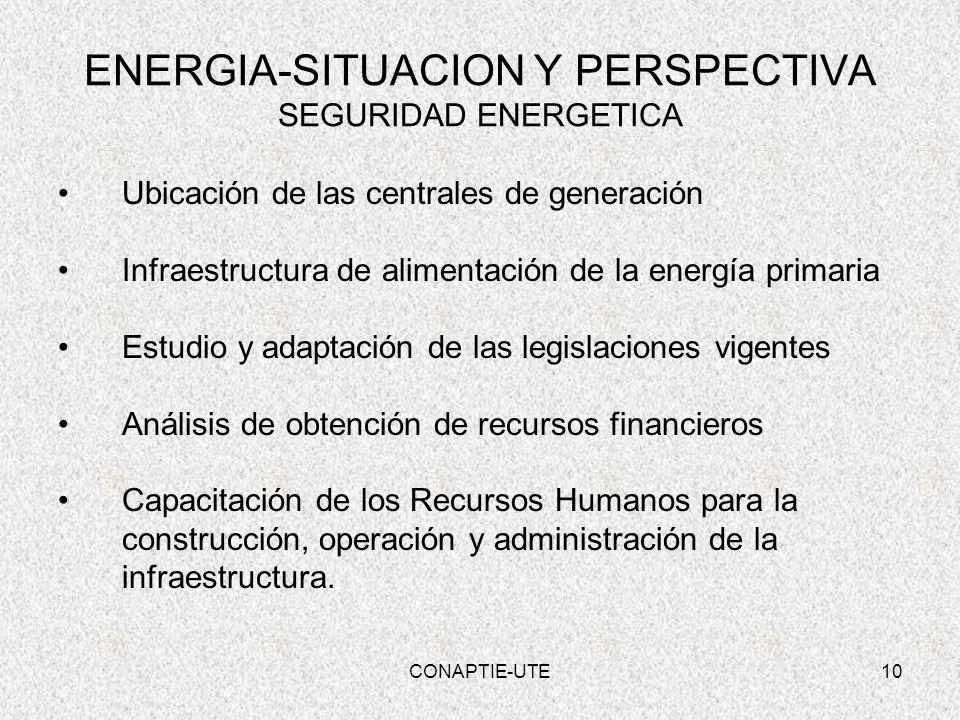 10 ENERGIA-SITUACION Y PERSPECTIVA SEGURIDAD ENERGETICA Ubicación de las centrales de generación Infraestructura de alimentación de la energía primari