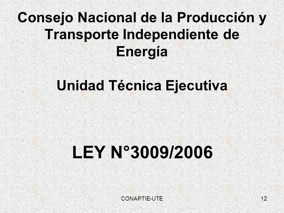 Consejo Nacional de la Producción y Transporte Independiente de Energía Unidad Técnica Ejecutiva LEY N°3009/2006 12CONAPTIE-UTE