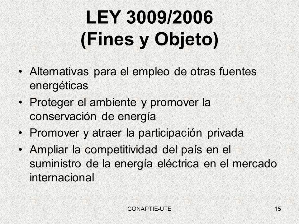 LEY 3009/2006 (Fines y Objeto) Alternativas para el empleo de otras fuentes energéticas Proteger el ambiente y promover la conservación de energía Pro