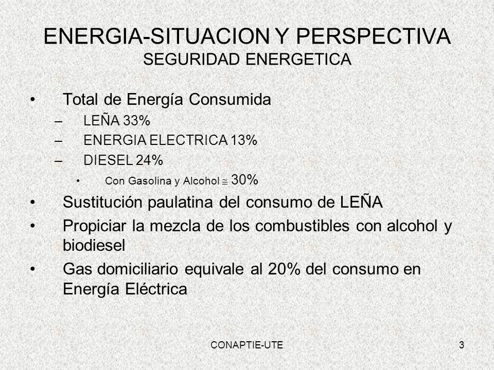 3 ENERGIA-SITUACION Y PERSPECTIVA SEGURIDAD ENERGETICA Total de Energía Consumida –LEÑA 33% –ENERGIA ELECTRICA 13% –DIESEL 24% Con Gasolina y Alcohol