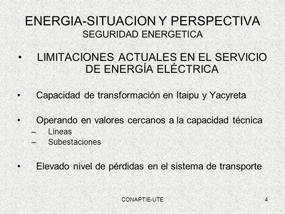 4 ENERGIA-SITUACION Y PERSPECTIVA SEGURIDAD ENERGETICA LIMITACIONES ACTUALES EN EL SERVICIO DE ENERGÍA ELÉCTRICA Capacidad de transformación en Itaipu