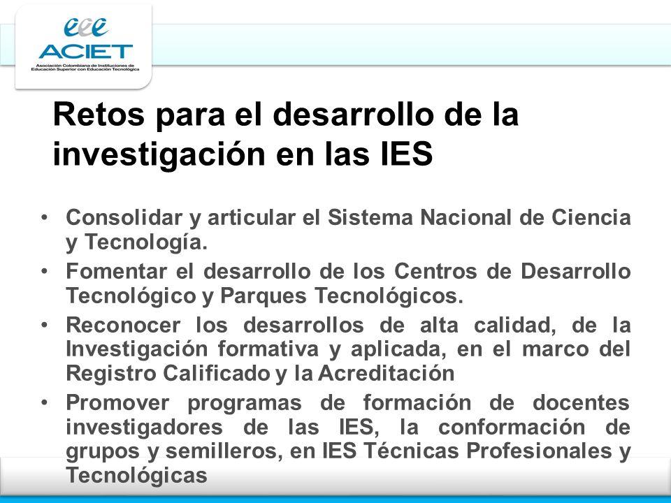 Retos para el desarrollo de la investigación en las IES Consolidar y articular el Sistema Nacional de Ciencia y Tecnología. Fomentar el desarrollo de
