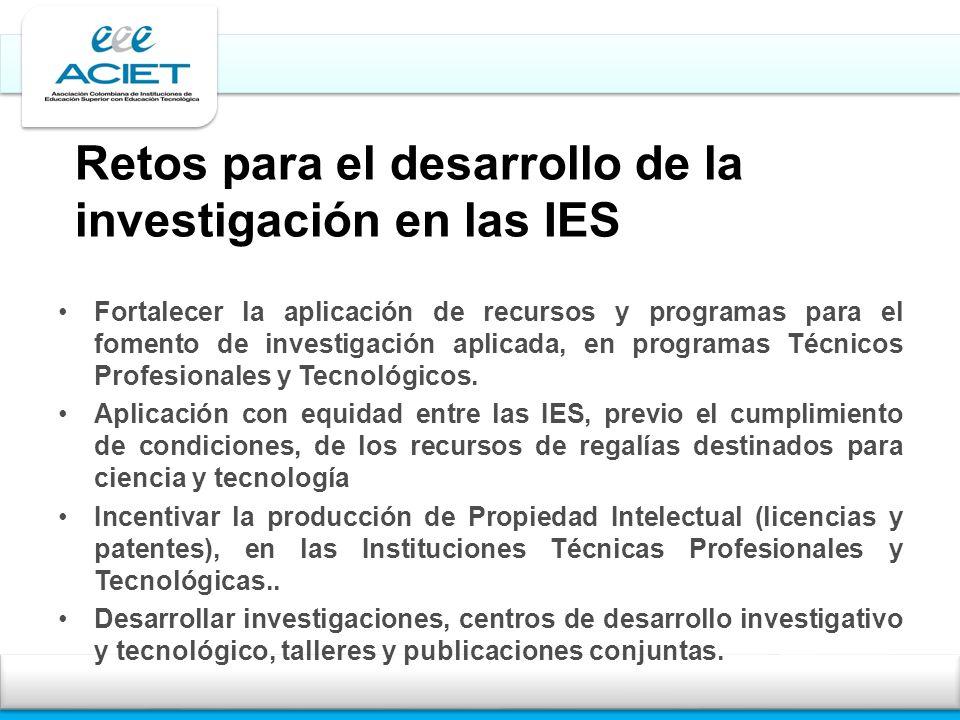 Retos para el desarrollo de la investigación en las IES Fortalecer la aplicación de recursos y programas para el fomento de investigación aplicada, en programas Técnicos Profesionales y Tecnológicos.