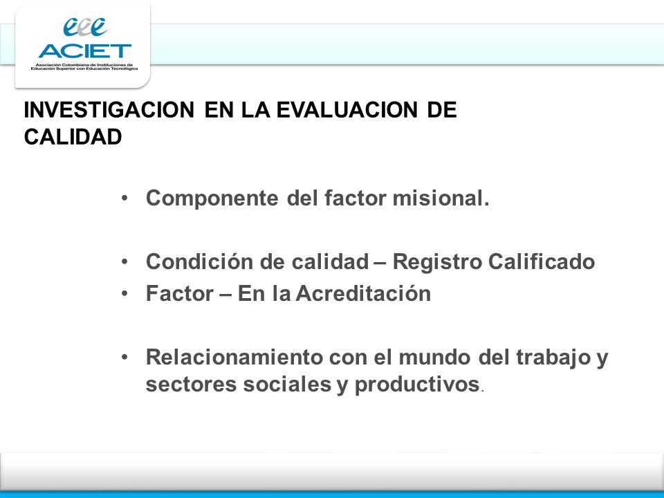 INVESTIGACION EN LA EVALUACION DE CALIDAD Componente del factor misional. Condición de calidad – Registro Calificado Factor – En la Acreditación Relac
