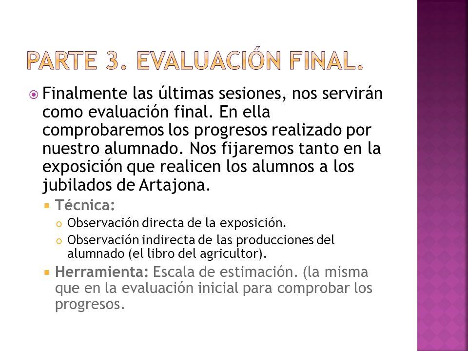 Finalmente las últimas sesiones, nos servirán como evaluación final.