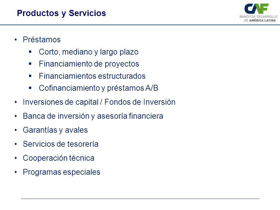 Préstamos Corto, mediano y largo plazo Financiamiento de proyectos Financiamientos estructurados Cofinanciamiento y préstamos A/B Inversiones de capit