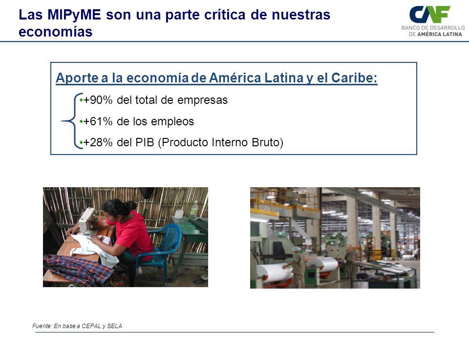 Aporte a la economía de América Latina y el Caribe: +90% del total de empresas +61% de los empleos +28% del PIB (Producto Interno Bruto) Las MIPyME so