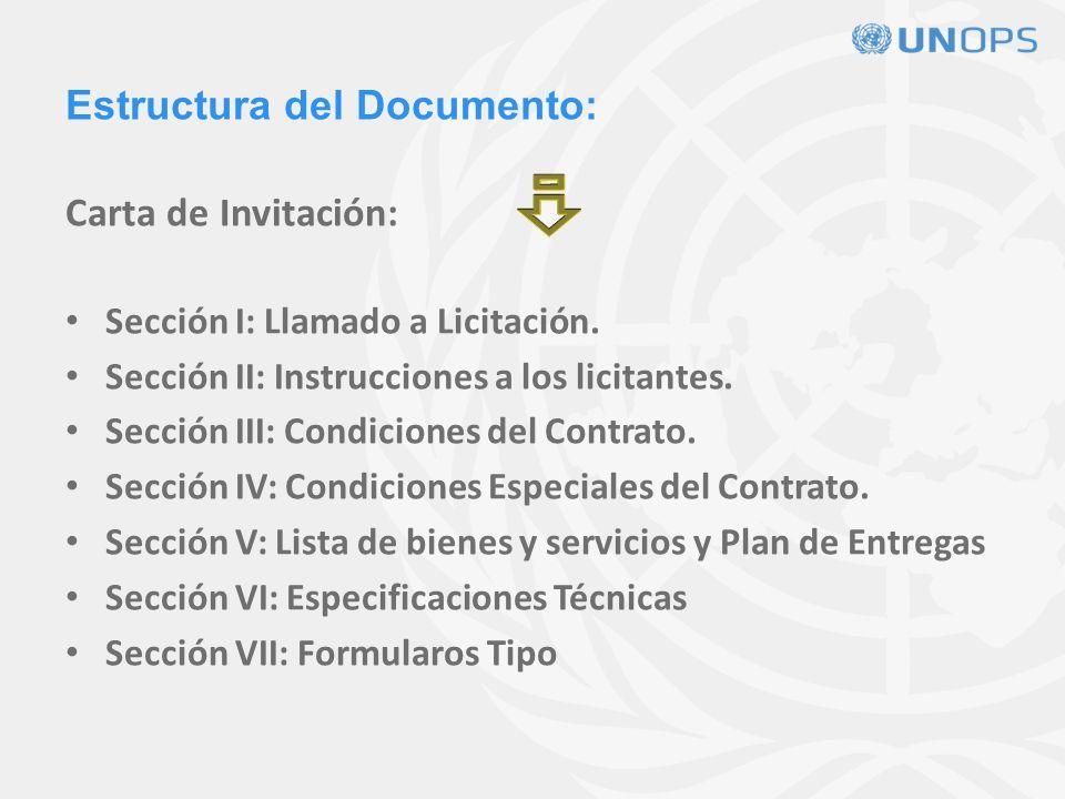 Estructura del Documento: Carta de Invitación: Sección I: Llamado a Licitación.
