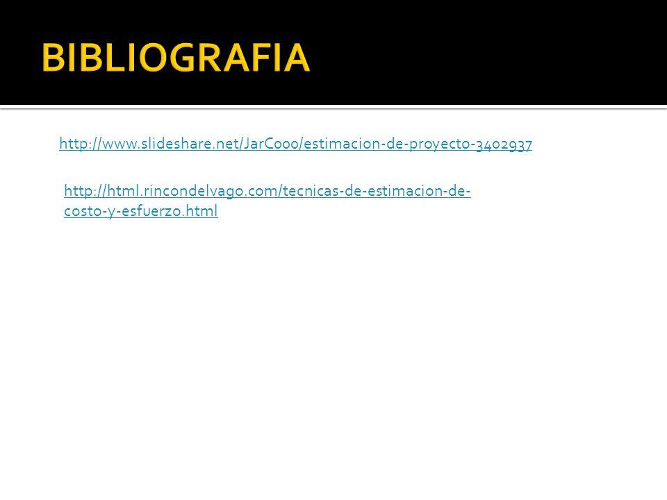http://www.slideshare.net/JarC000/estimacion-de-proyecto-3402937 http://html.rincondelvago.com/tecnicas-de-estimacion-de- costo-y-esfuerzo.html