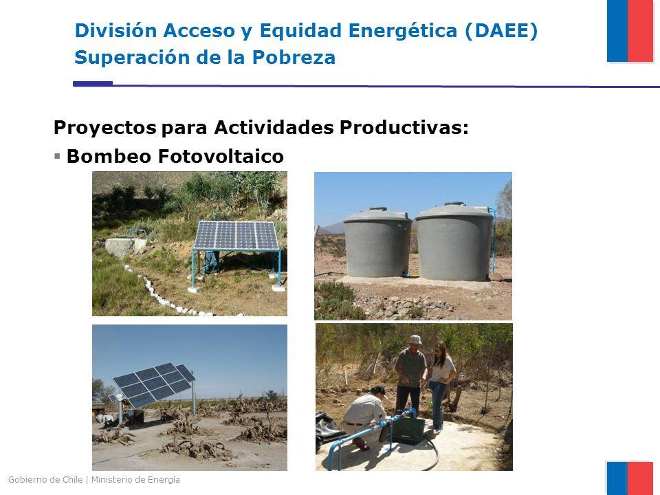 Gobierno de Chile | Ministerio de Energía División Acceso y Equidad Energética (DAEE) Superación de la Pobreza Proyectos para Actividades Productivas: