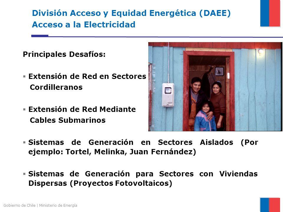División Acceso y Equidad Energética (DAEE) Acceso a la Electricidad Principales Desafíos: Extensión de Red en Sectores Cordilleranos Extensión de Red