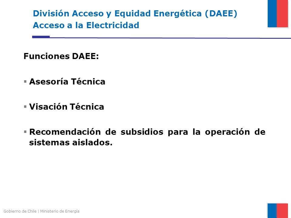 División Acceso y Equidad Energética (DAEE) Acceso a la Electricidad Funciones DAEE: Asesoría Técnica Visación Técnica Recomendación de subsidios para