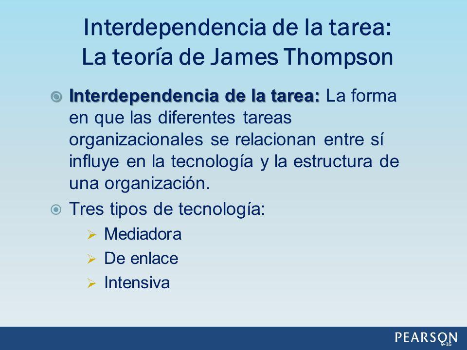 Interdependencia de la tarea: Interdependencia de la tarea: La forma en que las diferentes tareas organizacionales se relacionan entre sí influye en la tecnología y la estructura de una organización.