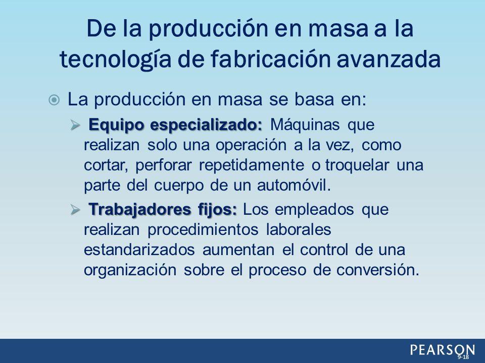 La producción en masa se basa en: Equipo especializado: Equipo especializado: Máquinas que realizan solo una operación a la vez, como cortar, perforar repetidamente o troquelar una parte del cuerpo de un automóvil.