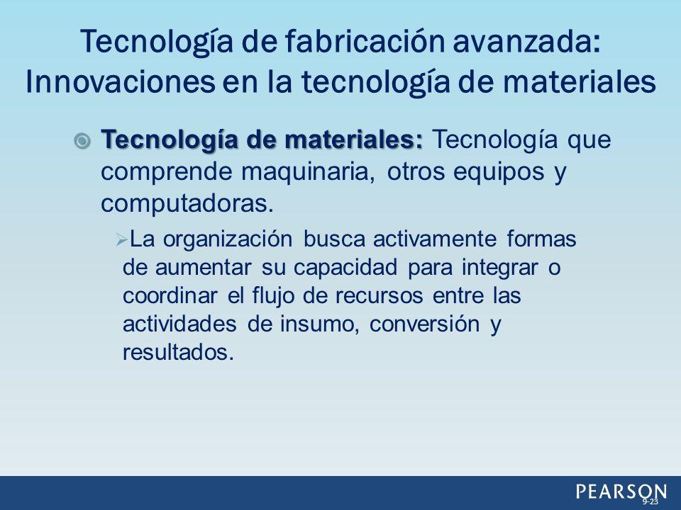 Tecnología de materiales: Tecnología de materiales: Tecnología que comprende maquinaria, otros equipos y computadoras. La organización busca activamen