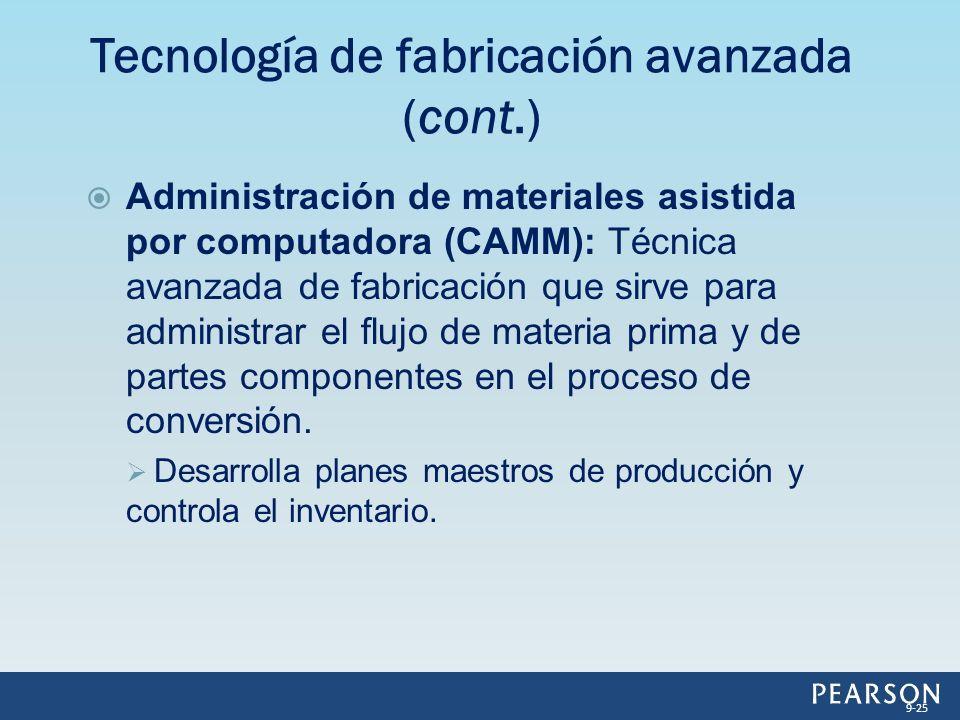 Administración de materiales asistida por computadora (CAMM): Técnica avanzada de fabricación que sirve para administrar el flujo de materia prima y de partes componentes en el proceso de conversión.