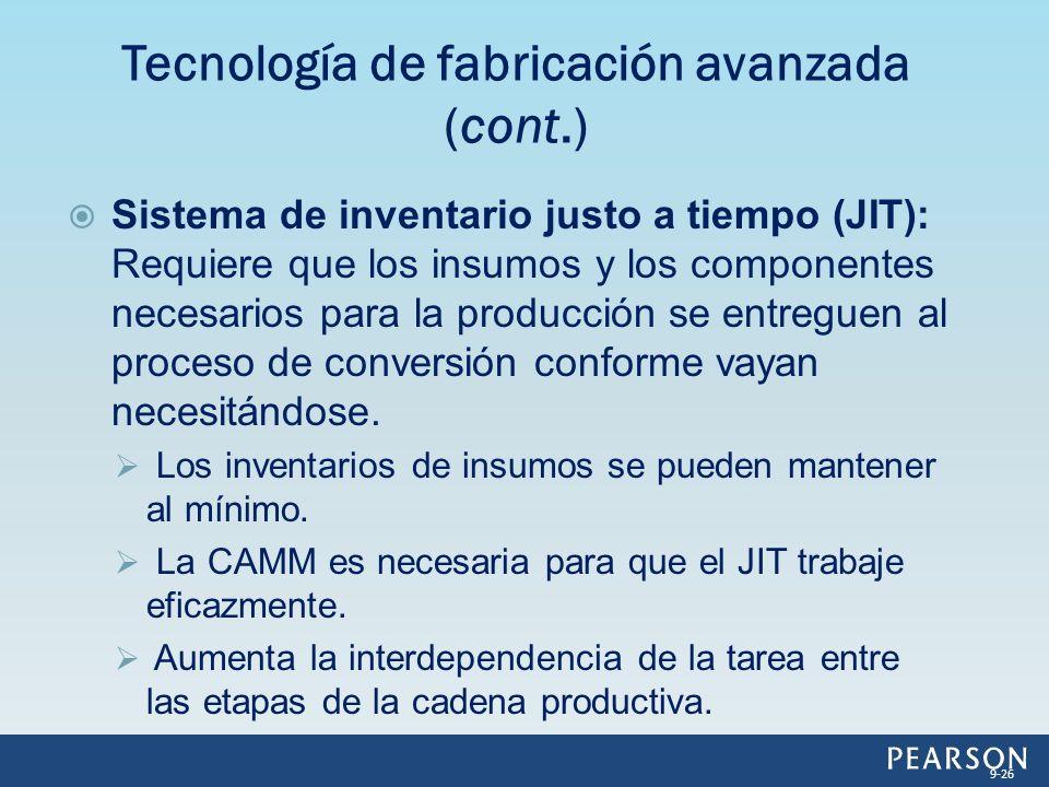 Sistema de inventario justo a tiempo (JIT): Requiere que los insumos y los componentes necesarios para la producción se entreguen al proceso de conver