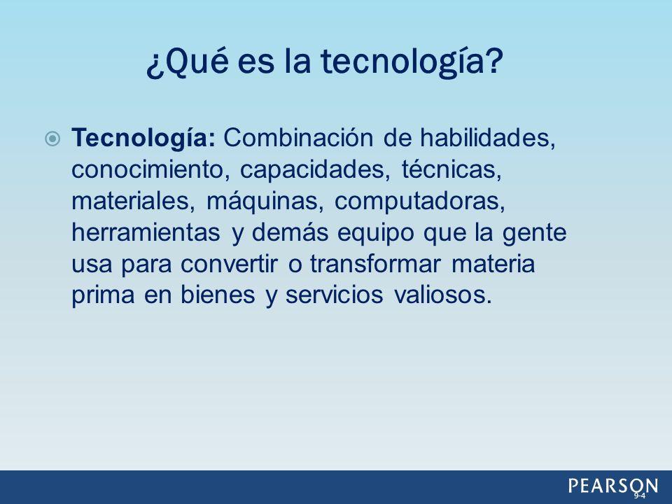 Tecnología: Combinación de habilidades, conocimiento, capacidades, técnicas, materiales, máquinas, computadoras, herramientas y demás equipo que la ge