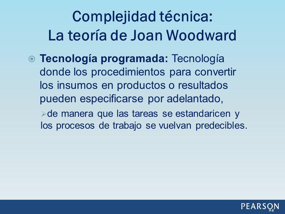 Complejidad técnica: Complejidad técnica: Medida del grado en que un proceso de producción se programa, de manera que pueda controlarse y predecirse.