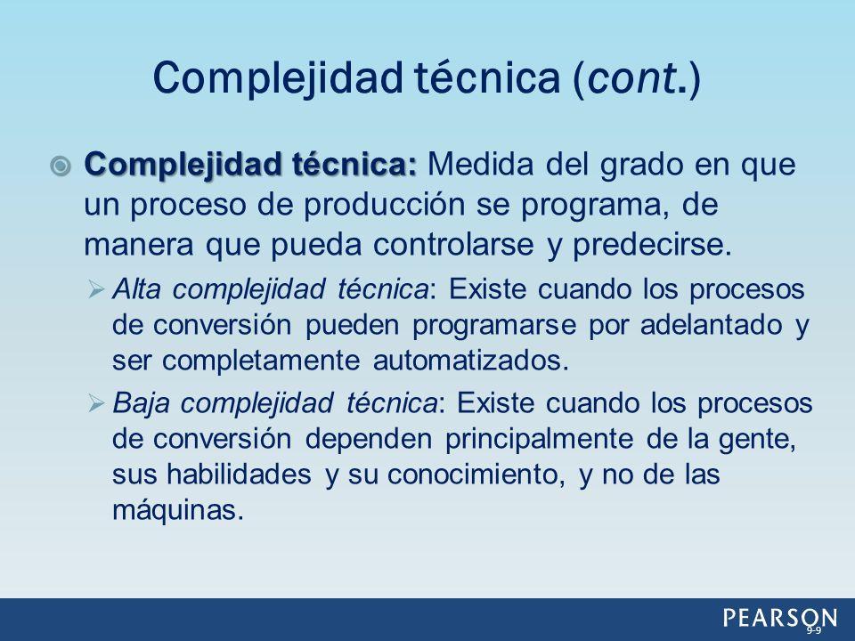 Woodward identificó 10 niveles de complejidad técnica que están asociados con tres tipos de tecnología de producción: Tecnología de unidad y pequeños lotes.
