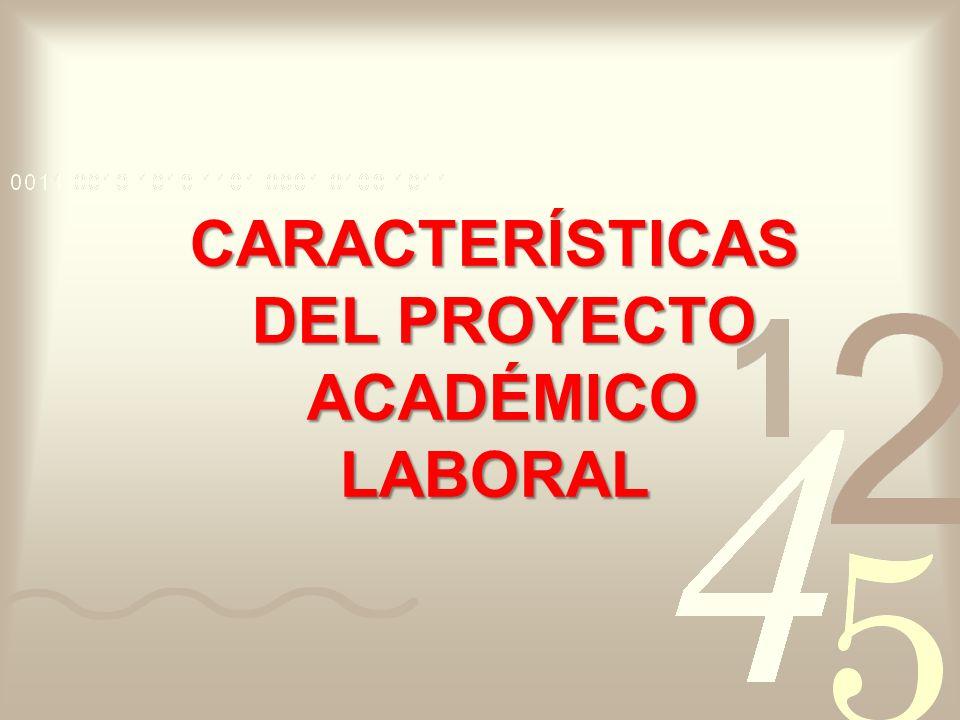 CARACTERÍSTICAS DEL PROYECTO DEL PROYECTO ACADÉMICO ACADÉMICOLABORAL