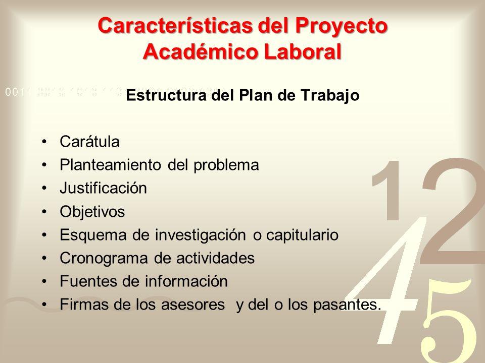 Características del Proyecto Académico Laboral Estructura del Plan de Trabajo Carátula Planteamiento del problema Justificación Objetivos Esquema de i