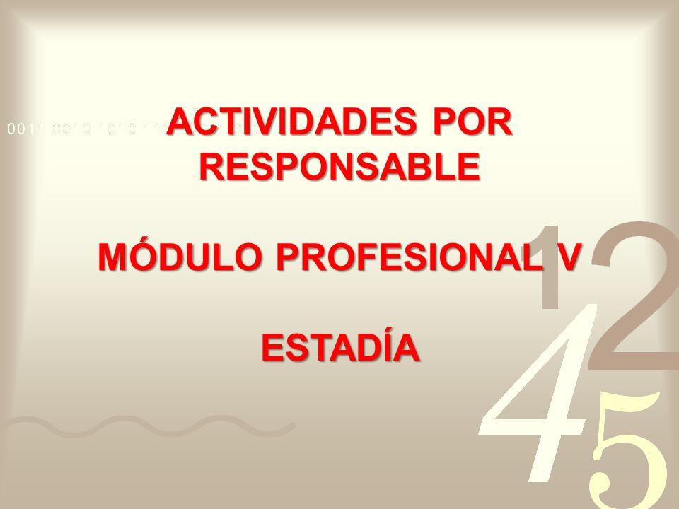 ACTIVIDADES POR RESPONSABLE MÓDULO PROFESIONAL V ESTADÍA