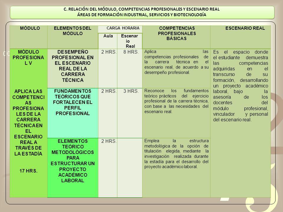 C. RELACIÓN DEL MÓDULO, COMPETENCIAS PROFESIONALES Y ESCENARIO REAL ÁREAS DE FORMACIÓN INDUSTRIAL, SERVICIOS Y BIOTECNOLOGÍA MÓDULOELEMENTOS DEL MÓDUL