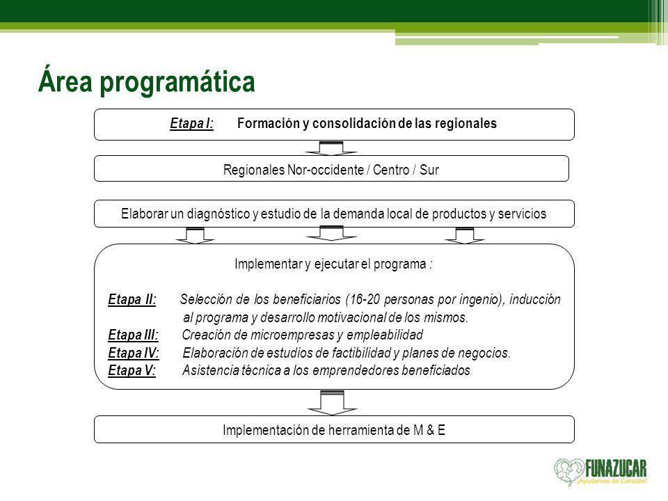 Área programática Etapa I: Formación y consolidación de las regionales Regionales Nor-occidente / Centro / Sur Elaborar un diagnóstico y estudio de la