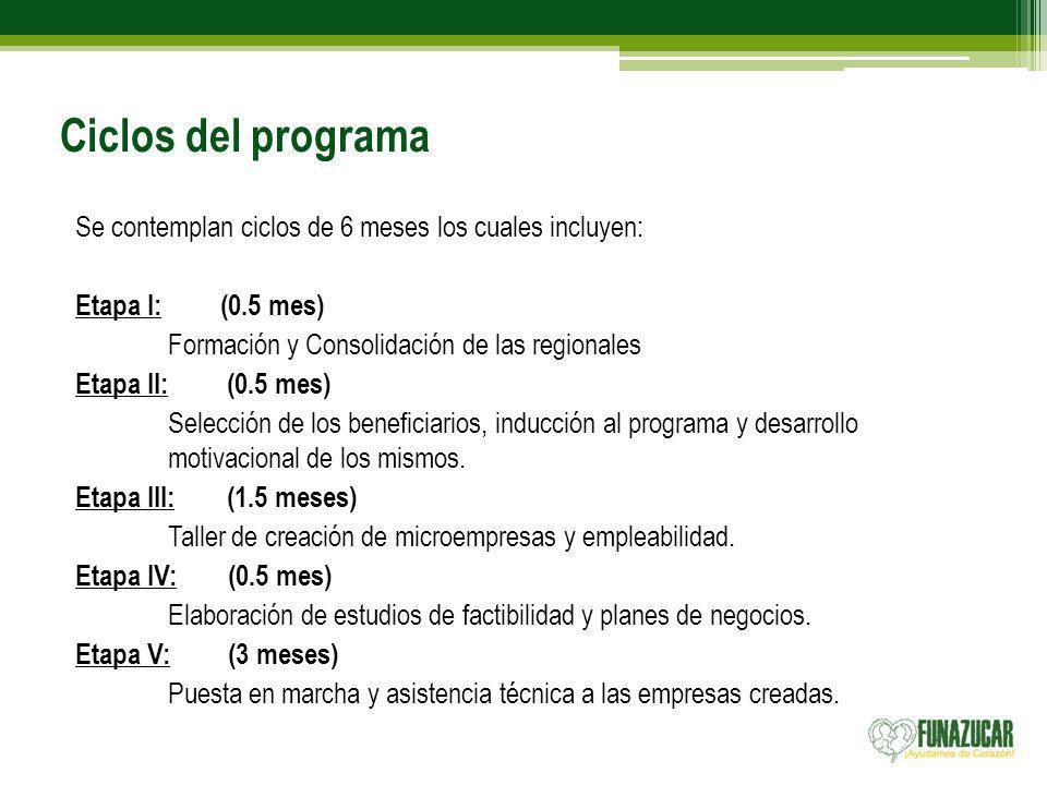 Ciclos del programa Se contemplan ciclos de 6 meses los cuales incluyen: Etapa I: (0.5 mes) Formación y Consolidación de las regionales Etapa II: (0.5 mes) Selección de los beneficiarios, inducción al programa y desarrollo motivacional de los mismos.