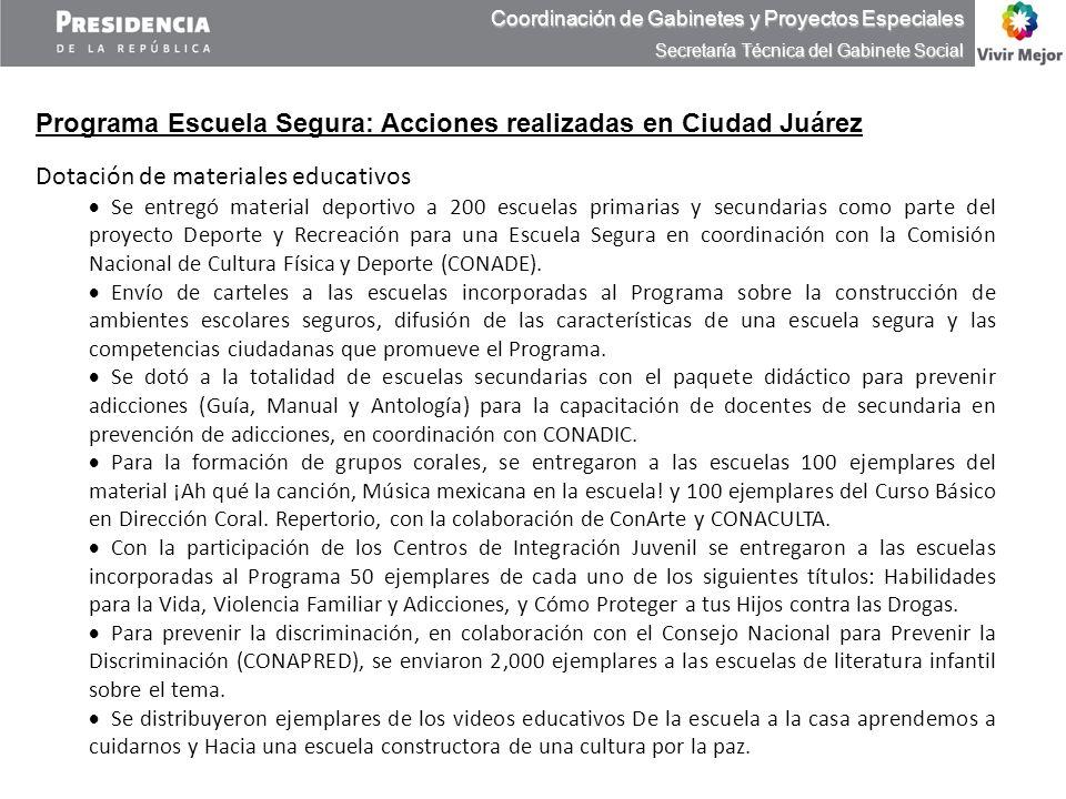 Programa Escuela Segura: Acciones realizadas en Ciudad Juárez Dotación de materiales educativos Se entregó material deportivo a 200 escuelas primarias