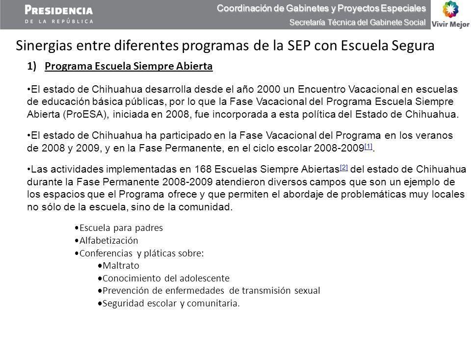 1)Programa Escuela Siempre Abierta El estado de Chihuahua desarrolla desde el año 2000 un Encuentro Vacacional en escuelas de educación básica pública