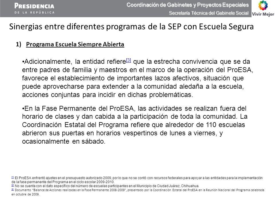 Adicionalmente, la entidad refiere [3] que la estrecha convivencia que se da entre padres de familia y maestros en el marco de la operación del ProESA