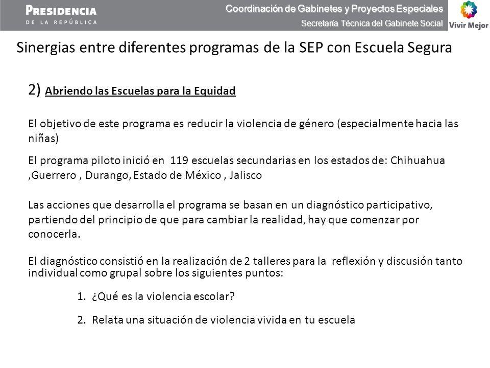 Coordinación de Gabinetes y Proyectos Especiales Secretaría Técnica del Gabinete Social Sinergias entre diferentes programas de la SEP con Escuela Seg