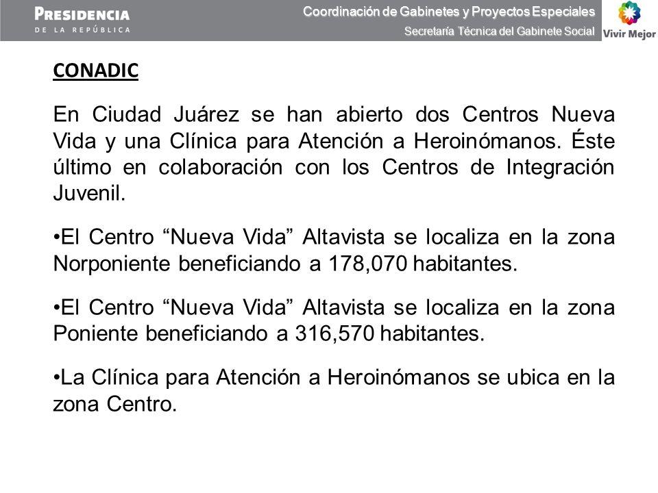 CONADIC En Ciudad Juárez se han abierto dos Centros Nueva Vida y una Clínica para Atención a Heroinómanos. Éste último en colaboración con los Centros