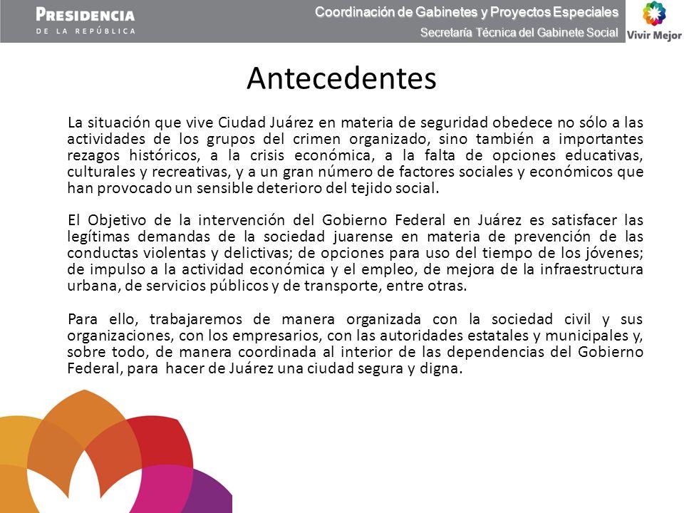 Antecedentes La situación que vive Ciudad Juárez en materia de seguridad obedece no sólo a las actividades de los grupos del crimen organizado, sino t