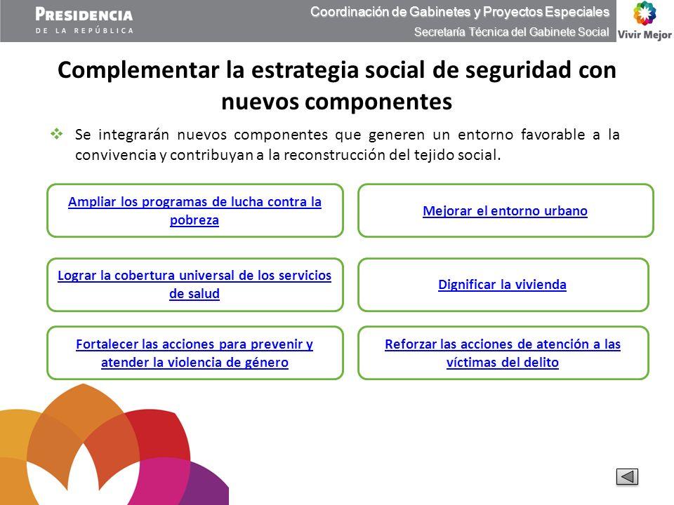 Complementar la estrategia social de seguridad con nuevos componentes Coordinación de Gabinetes y Proyectos Especiales Secretaría Técnica del Gabinete