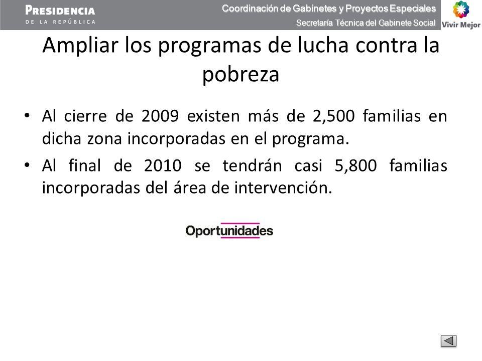 Ampliar los programas de lucha contra la pobreza Al cierre de 2009 existen más de 2,500 familias en dicha zona incorporadas en el programa. Al final d