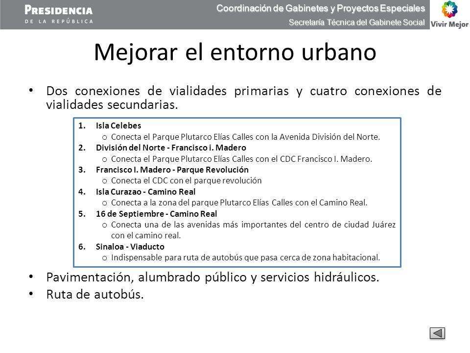 Mejorar el entorno urbano Dos conexiones de vialidades primarias y cuatro conexiones de vialidades secundarias. Pavimentación, alumbrado público y ser