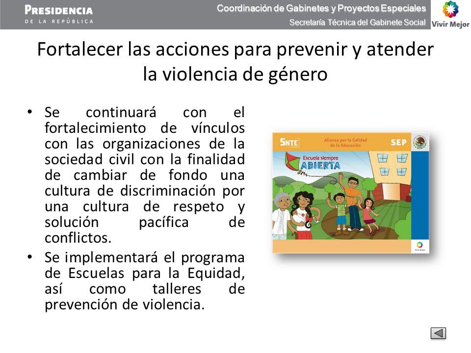 Fortalecer las acciones para prevenir y atender la violencia de género Se continuará con el fortalecimiento de vínculos con las organizaciones de la s