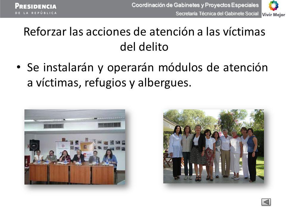 Reforzar las acciones de atención a las víctimas del delito Se instalarán y operarán módulos de atención a víctimas, refugios y albergues. Coordinació