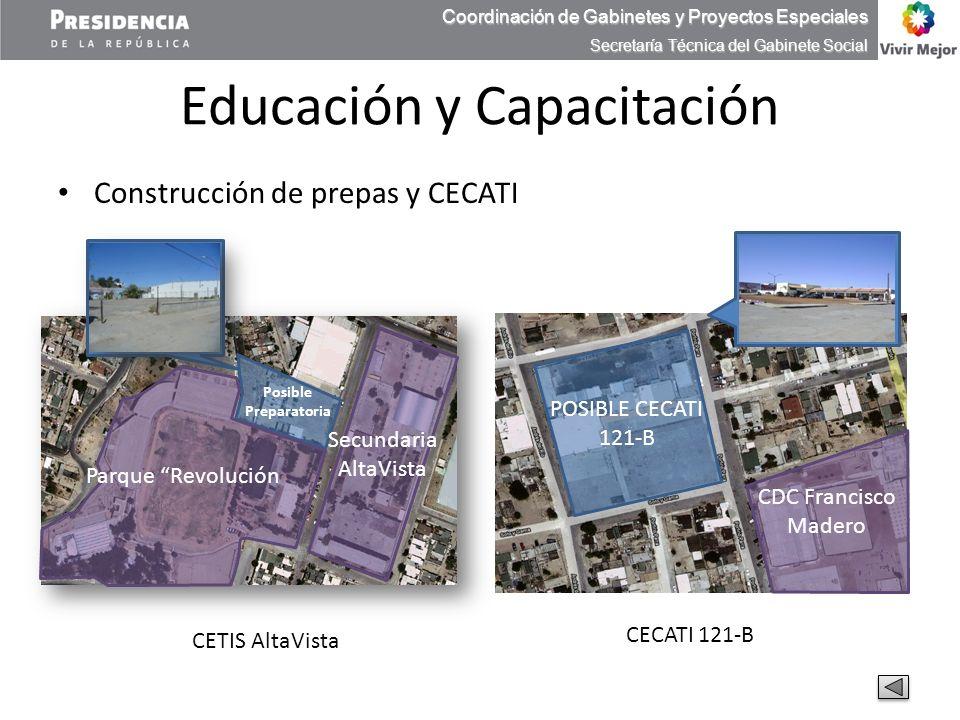 Educación y Capacitación Construcción de prepas y CECATI Coordinación de Gabinetes y Proyectos Especiales Secretaría Técnica del Gabinete Social CETIS