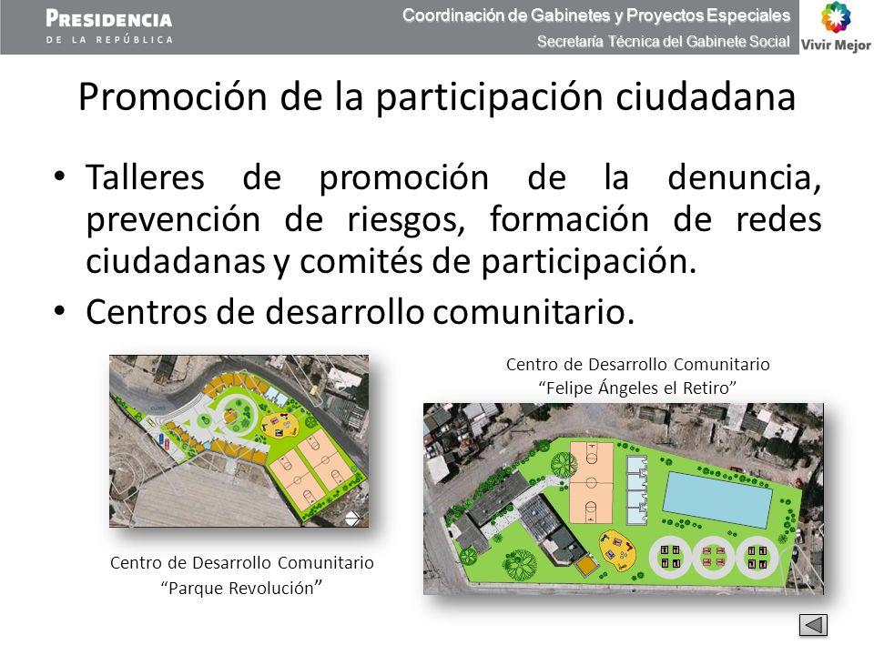 Promoción de la participación ciudadana Talleres de promoción de la denuncia, prevención de riesgos, formación de redes ciudadanas y comités de partic
