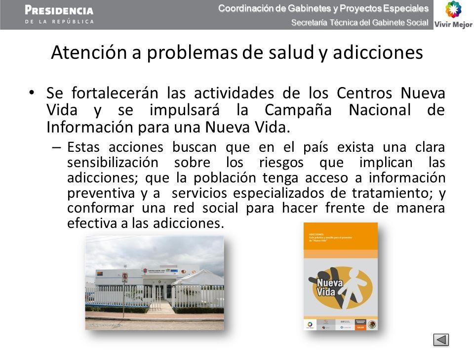 Atención a problemas de salud y adicciones Se fortalecerán las actividades de los Centros Nueva Vida y se impulsará la Campaña Nacional de Información