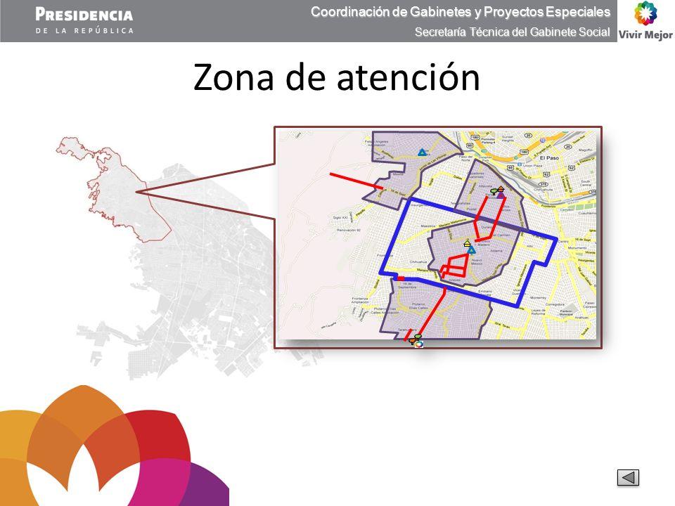 Zona de atención Coordinación de Gabinetes y Proyectos Especiales Secretaría Técnica del Gabinete Social