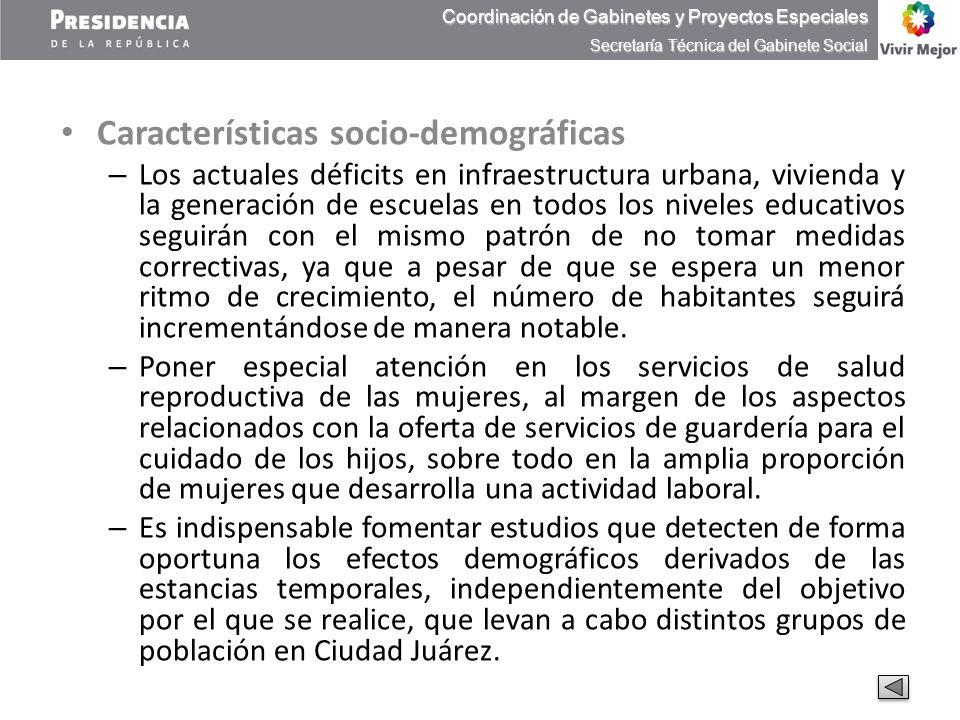 Características socio-demográficas – Los actuales déficits en infraestructura urbana, vivienda y la generación de escuelas en todos los niveles educat