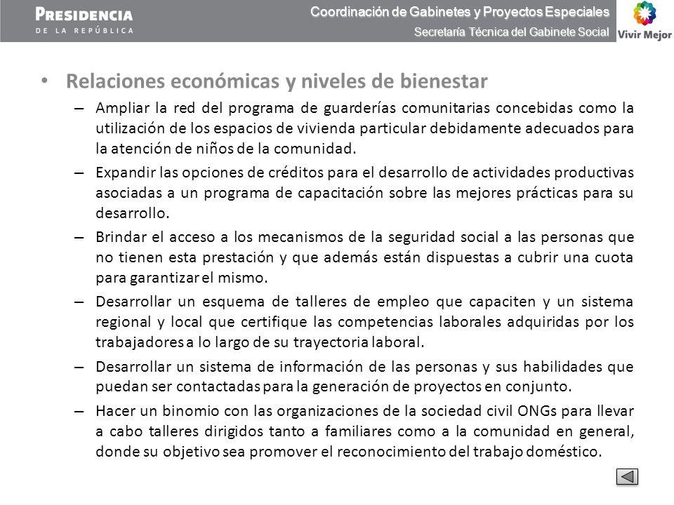 Relaciones económicas y niveles de bienestar – Ampliar la red del programa de guarderías comunitarias concebidas como la utilización de los espacios d